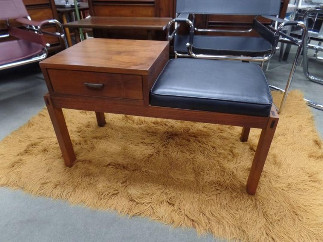 Mid Century Modern Walnut Entryway Telephone Bench By