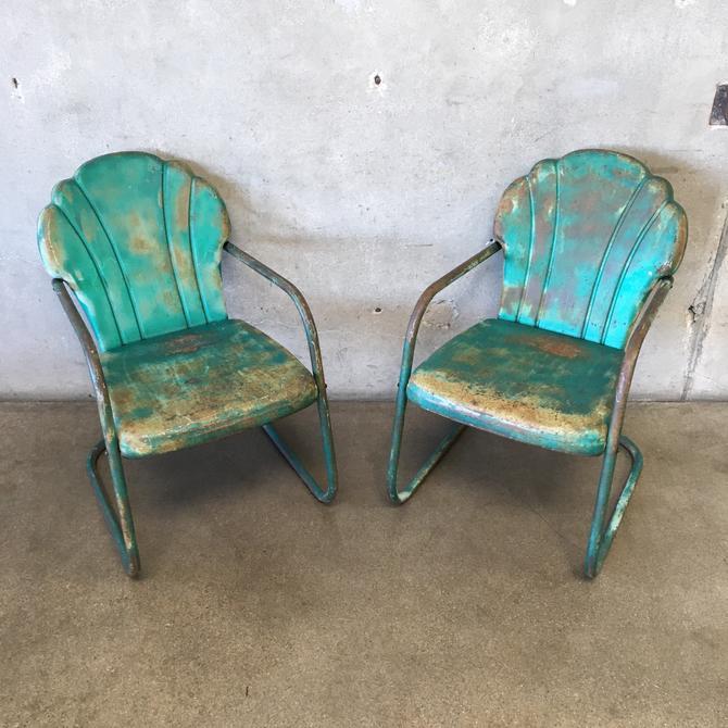 Pair of Vintage Shellback Steel Motel Chairs