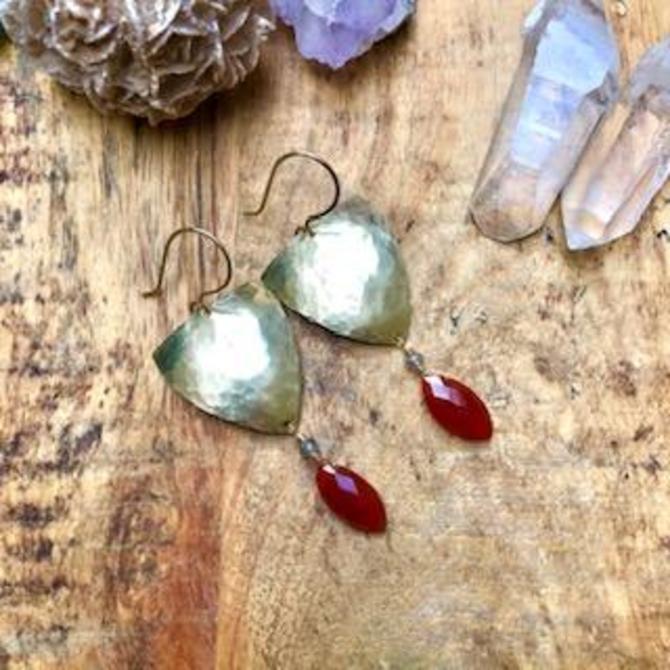 Shield Earrings With Carnelian Drop