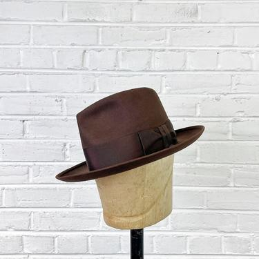 Size 7 1/8 Vintage 1940s 1950s John Batterson Brown Fur Felt Fedora with Mode Edge by BriarVintage