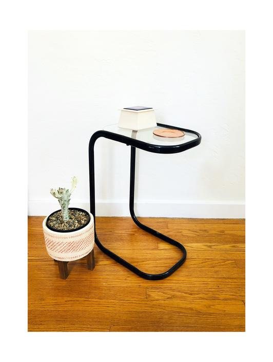 Vintage Metal Pill Shaped Cantilever Side Table / FREE SHIPPING by SergeantSailor