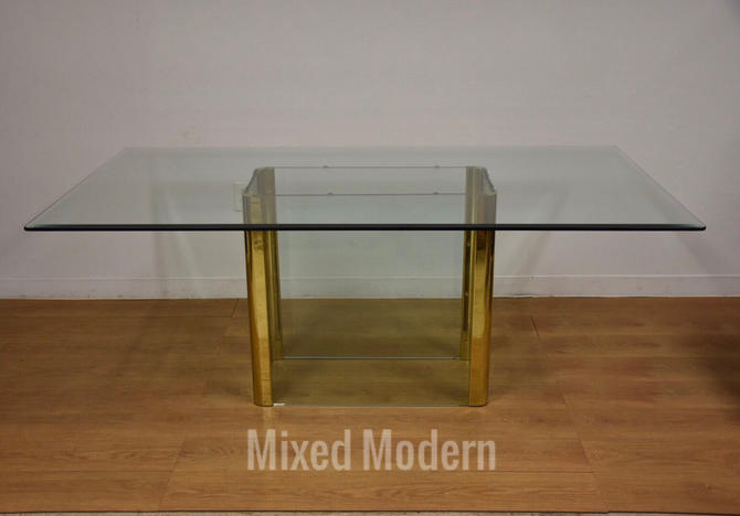 Glass and Brass Dining Table by Pace by mixedmodern1