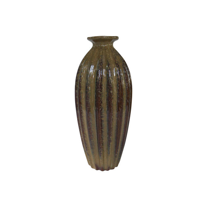1960s Mid-Century Modern Art Pottery Tall Ridged Brown Vase by MetronomeVintage