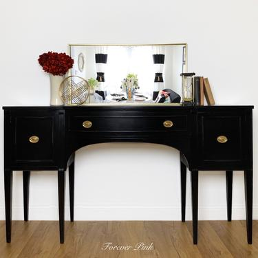 Vintage Buffet Painted Black, Antique Sideboard with Hepplewhite Hardware, TV Console, Dining Room Server, Entryway Credenza by ForeverPinkVintage