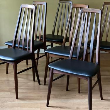 Set of Six Eva Chairs by Neils Koefoed, 4 in Walnut, 2 in rosewood by ASISisNOTgoodENOUGH