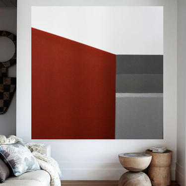 """RED 36""""x36"""" Canvas Painting Minimal Wall Art, Modern Home Decor, Abstract Minimalist Modern Original Contemporary Artwork Commission Art by ArtbyDinaD"""