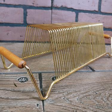 Mid Century Brass Wire Record Holder with Wood Handles by RedsRustyRelics