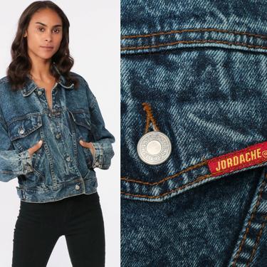 80s JORDACHE Jacket Acid Wash Denim Jacket 90s Jean Jacket Grunge Biker 1980s Vintage Button Up Denim Coat Large by ShopExile