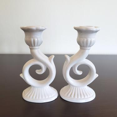 Vintage White Italian Pottery Candleholders, Set of 2 Signed Ceramic Candlesticks by CivilizedCrow