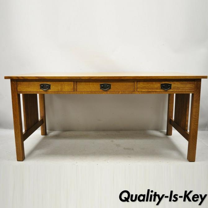 "Stickley Mission Collection Fayetteville Oak 66"" Spindle Library Office Desk"