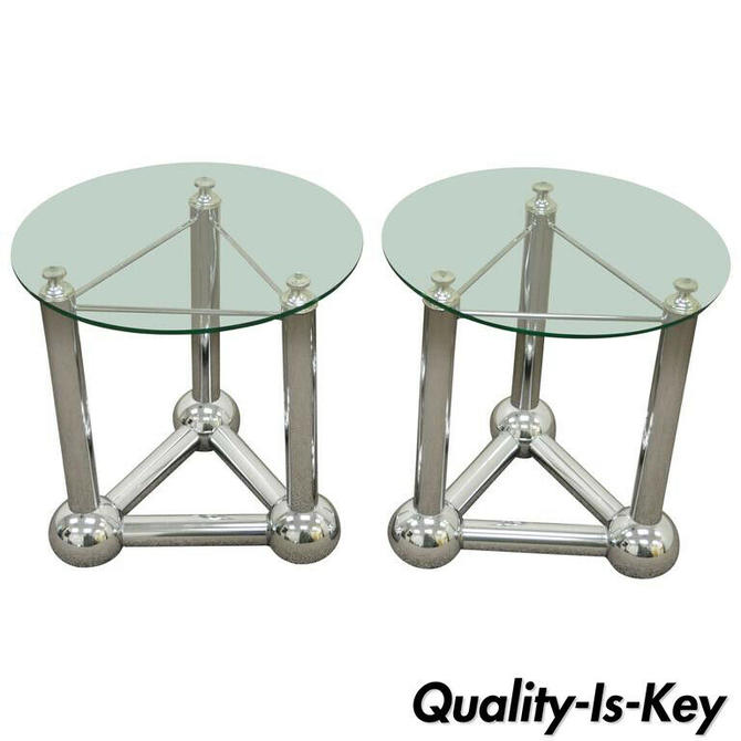 Pair Mid Century Modern Chrome Ball Orb Atomic Era Round Glass Side End Tables