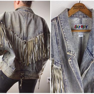 80's Acid Wash Denim Jacket Leather Fringe sz M L // East West - Medium by SonjloStudio