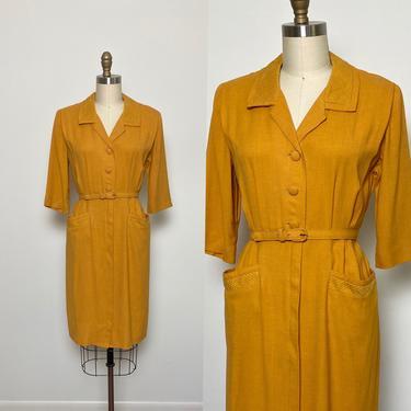 Vintage 1940s Dress 40s Shirtwaist Mustard with Pockets Lordleigh by littlestarsvintage