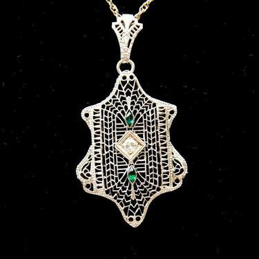 "Vintage 14K White Gold Diamond & Emerald Filigree Pendant Necklace, 16 1/4"" Long by shopGoodsVintage"
