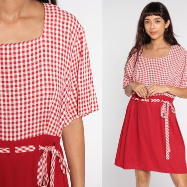 90s Gingham Dress -- 1990s Red Grunge Mini Dress Checkered Print Short Sleeve High Waist Plaid Vintage MiniDress Extra Large xl by ShopExile