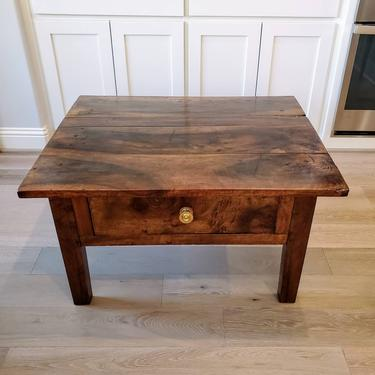 Rustic Country European Antique Fruitwood Low Table - Wabi Sabi Coffee Table by LynxHollowAntiques