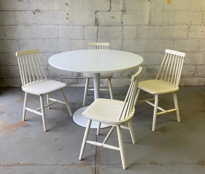 Mid Century MODERN DINING SET, spindle chairs + tulip table by CIRCA60