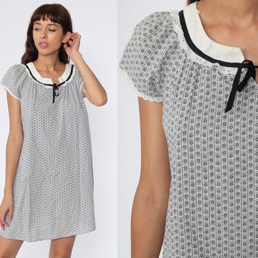 Grey Cotton Dress 70s EYELET Lace Dress Tent Dress Geometric Mini Summer Festival Hippie Bohemian Vintage Trapeze Boho Caftan Medium by ShopExile