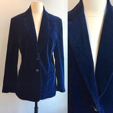 Vintage 70's DEEP BLUE VELVET Blazer / Two Button + Deep Back Vent / Patch Pockets by CharmVintageBoutique
