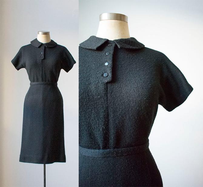 Vintage 1940s 2pc Knit Set / Black Knit Outfit / Knit Sweater and Knit Skirt / 1940s Knit Set / Black Sweater Set / Knit Pencil Skirt by milkandice