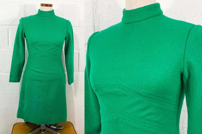 Vintage Kelly Green Scooter Dress A-Line Emerald Mod MCM 1960s 60s Design Long Sleeve Mockneck Mock Neck XS Small by CheckEngineVintage