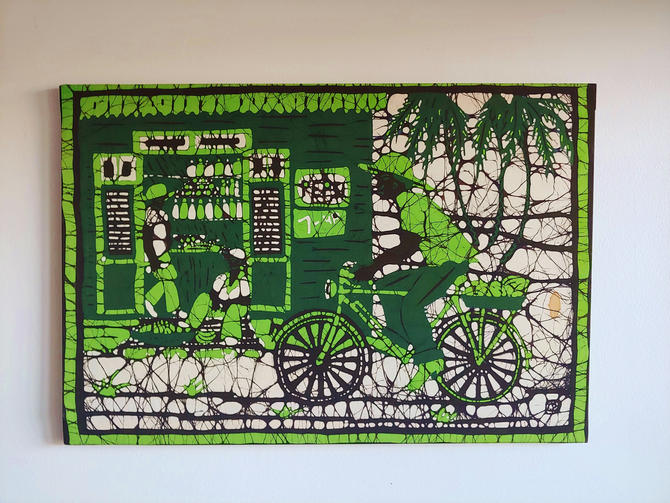 Original Vintage Batik Art Mounted on Wood Frame by ModandOzzie