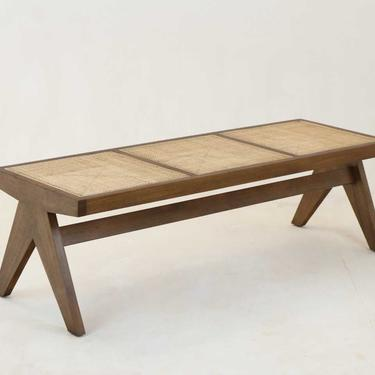 Pierre Jeanneret Bench Walnut Original Weave Finish by ShopInteriorTonic