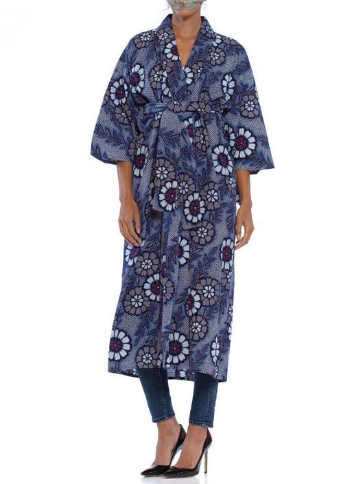 1970S Indigo Blue Japanese Shibori Print Cotton Kimono With Sash Belt by SHOPMORPHEW
