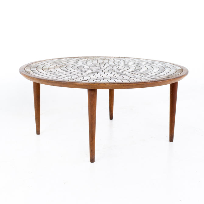 Gordon and Jane Martz for Marshall Studios Mid Century Walnut and Mosaic Round Coffee Table - mcm by ModernHill