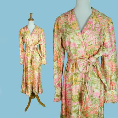 DEADSTOCK Vintage 1960s Dress Kiki Hart Saks 5th Avenue Silk Flower Print Roses S M by WalkinVintage
