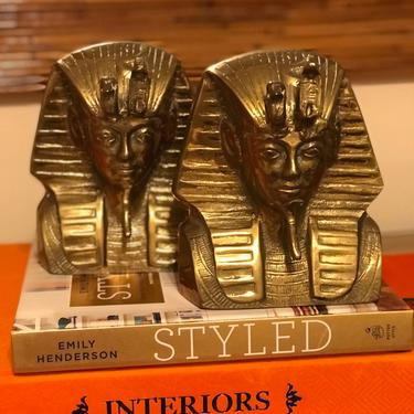 A pair of vintage King Tut brass bookends. by HolbrookBazaar