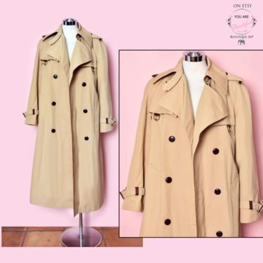 Vintage Etienne Aigner Classic Trench Coat 1970's Designer Tan beige Brown Leather Trim, Womens Spy Coat MEDIUM by Boutique369