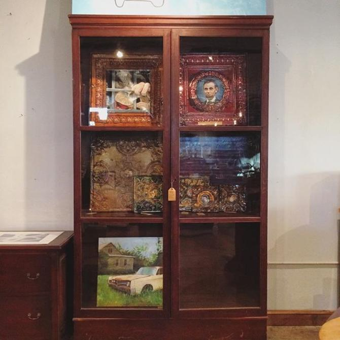 Very Large Vintage Glass Door Display Cabinet Shelving Unit From