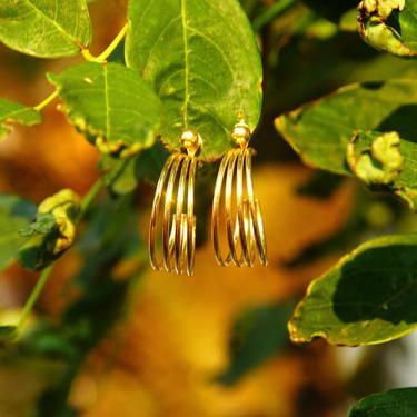 """Vintage Minimalist 14K Gold Wire Hoop Earrings, 4-Strand Gold Wire Hoops, Gold Cuff Hoops Accent Gold Bead, Marked 14K POM, 1 1/8"""" L by shopGoodsVintage"""