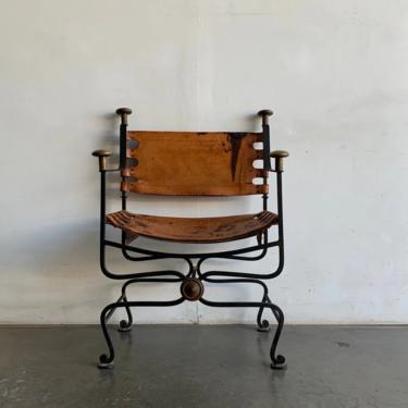 ron, Bronze and Leather Savonarola or Dante Chair by VintageOnPoint