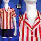 Comfy Cool Vintage 70s 80s Red & White Stripe Short Sleeve Lightweight Blouse by RETMOD