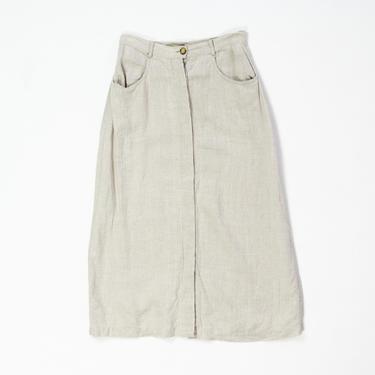 "Lynx Skirt — vintage linen skirt / 90s The Territory Ahead minimalist maxi skirt / medium 28"" high-waisted oatmeal buttoned ankle skirt by fieldery"