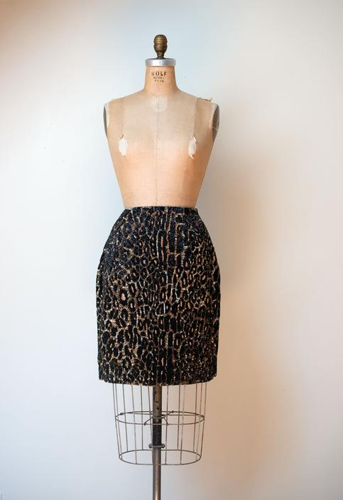 1990s Beaded Leopard Print Skirt   Todd Oldham FALL 1992 by FemaleHysteria