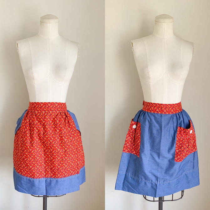 vintage 1960s Red & Blue Calico Reversible Apron by MsTips