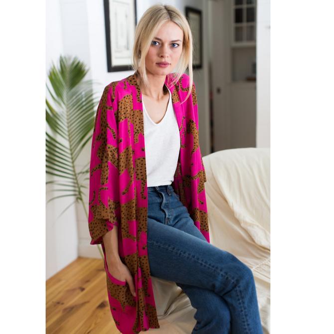 Emerson Fry Fete Kimono - Pink Yarrow Cheetah