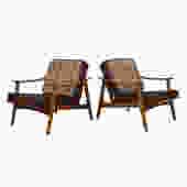 Pair of Swedish Modern Lounge Chairs w/ Reversible Cushions!
