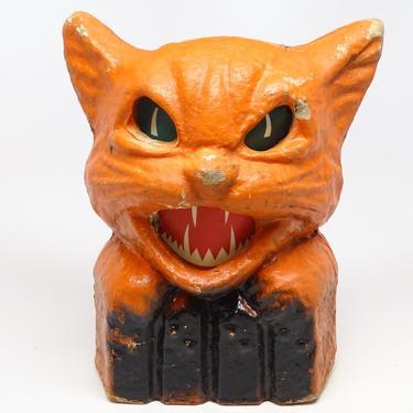 Vintage 1940's Orange Cat on Fence Halloween Lantern, made with Pulp Paper Mache, Retro Decor by exploremag