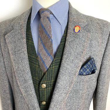Vintage Stafford 100% WOOL TWEED Wool Blazer ~ 44 Long ~ Herringbone ~ jacket / sport coat ~ Preppy / Ivy League / Trad ~ by SparrowsAndWolves