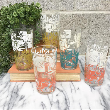 Vintage Drinking Glasses Retro 1960s Clear Glass + Flower Design + Pink + Blue + Yellow + White + Set of 5 + Kitchen and Home Decor by RetrospectVintage215