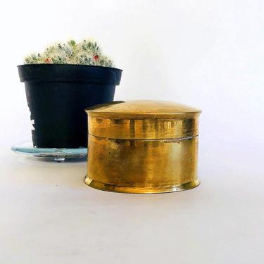 Small Vintage Brass Stash Box, Lidded - Trinket Box, Boho, Jewelry Box, Gift for Him, Keepsake Holder, Gold, Storage, Shelf Decor by VenerablePastiche
