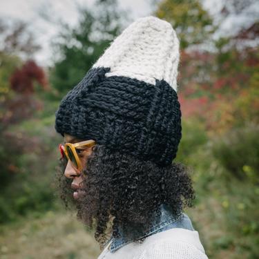 The Tepee Hat in Ebony Ivory/Chunky Winter Hat/Crochet Hat/Crochet Ski Hat/Handmade Chunky Yarn Hat by KonjoCrochet