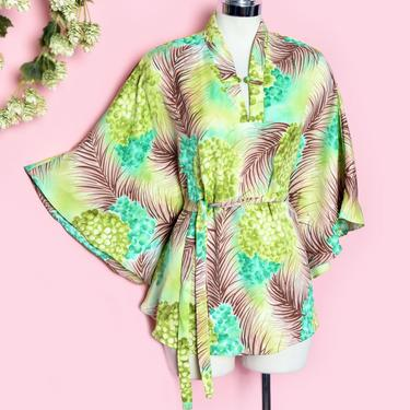 Vintage Hawaiian Caftan Kimono Blouse, Bat wing Flared Angel Sleeves, 1970's, 1960's Green Hawaii Top Mini Dress Kaftan Shirt Palm by Boutique369