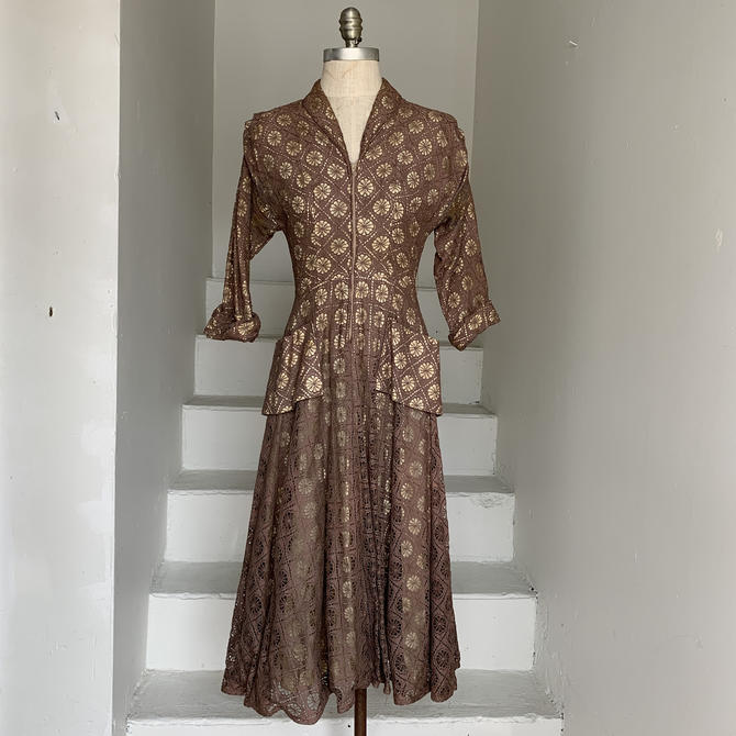 Late 1940s Claudia Young Spider Web Lace Zip Front Dress 32 Bust XS Vintage by AmalgamatedShop