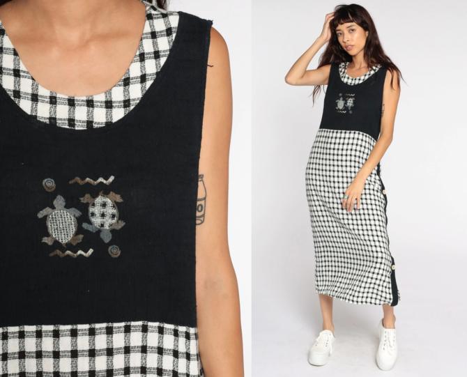 Black Gingham Dress 90s SEA TURTLES Midi Dress Grunge Dress Checkered Print White 1990s Shift Sleeveless Plaid Vintage Medium by ShopExile