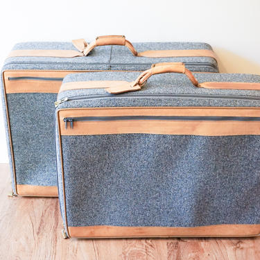Vintage Hartmann Gray Suitcases with Leather Accents (SOLD SEPARATELY) by PortlandRevibe